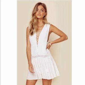 INDAH Lace up mini dress